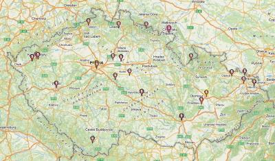 Mapa virtuálních keší v ČR