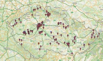 Mapa challenge keší v ČR