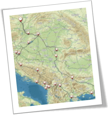 Mapa Expedice Balkán 2019