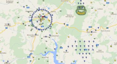 Mapa s kešemi v okolí Bruntálu